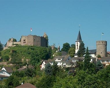 Burg Lindenfels, katholische Kirche, evangelische Kirche und Bürgerturm